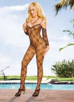 Catsuit černý CROTCHLESS LACE BODYSTOCKING