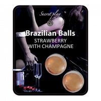 Tělový olej BRAZILIAN 2 BALLS SET strawberry and champagne