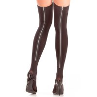 Punčochy THIGH HIGHS WITH ZIPPER BACK SEAM black