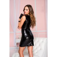 Šaty SLEEVELESS WETLOOK DRESS with lace top black