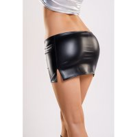 Sukně Glossy Wetlook Mini Skirt with Cut-Out Detail black