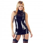 Šaty Black Level Vinyl Dress with Suspenders black